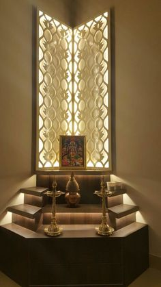 Temple Room Ideas Pooja Room Designs by The KariGhars Living Room Partition Design, Pooja Room Door Design, Room Partition Designs, Door Design Interior, Temple Room, Home Temple, Temple Design For Home, Mandir Design, Drawing Room Design