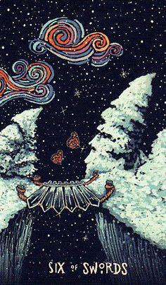 Six 6 of Swords Card Art | Illustrated Tarot Deck | Prisma Visions Tarot Deck | Divination | Oracle Cards