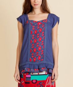 Loving this Blue & Red Fraila Top on #zulily! #zulilyfinds - by Rosalita McGee