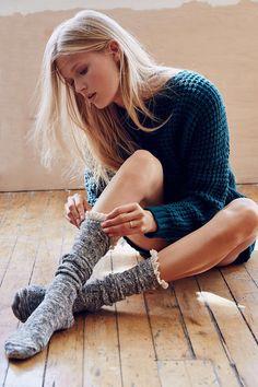 Crochet Button Cuff Knee-High Sock