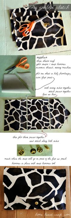 DIY Easy Animal Print Envelope Clutch. Ten minutes or less