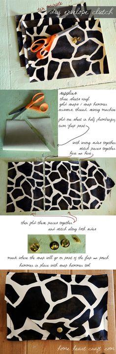 DIY Easy Animal Print Envelope Clutch. Ten minutes or less