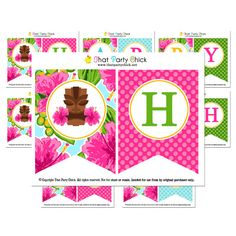 Luau Happy Birthday Banner Printable - Instant Download - Watercolor Luau Collection By That Party Chick