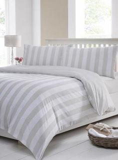 Natural Henley Stripe Bedding Set - bedding sets - bedding - For The Home Linen Bedroom, Home Bedroom, Master Bedroom, Bedroom Ideas, Bedrooms, Scandinavian Bedroom, Scandinavian Style, Striped Bedding, New Room