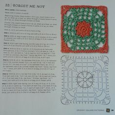 Forget Me Not - from The Granny Square Book by Margaret Hubert #crochetmoodblanket2014 granny square crochet pattern