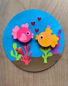 Fish Paper Craft, Fish Crafts, Paper Crafts Origami, Diy Crafts For Gifts, Paper Crafts For Kids, Craft Activities For Kids, Preschool Crafts, Summer Crafts, Hand Crafts For Kids