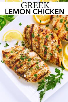 Greek Lemon Chicken – Cooking Classy Grilled Greek Lemon Chicken – bursting with fresh lemon flavor and is so easy to make! Chicken breasts are soaked in a bright, garlicky herb marinade and grilled to perfection. A recipe the whole family will love! Grilled Lemon Chicken, Greek Lemon Chicken, Greek Chicken Recipes, Greek Recipes, Healthy Chicken Recipes, Cooking Recipes, Healthy Quick Dinners, Lemon Recipes Dinner, Delicious Recipes