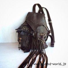 * Nomads Hippie fringe Leather Rucksack / Nomad World ・Handmade item, Layer Art, fringe, hippie,bohemian style☆ ・Materials: Deer leather & fringe ,