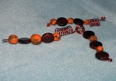 3 Orange and Brown Looped Wood Loc Jewels Simply by NaturalJaurney, $12.00