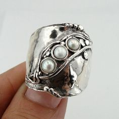 Hadar Jewelry Handcrafted 925 Sterling Silver Pearl Ring 8.5, Silver Band, White Pearl ring, Weddin