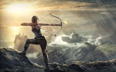 lara croft, tom raider, scenic, arrow, bow, raining - 2880x1800 original…