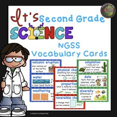 """Do you need a science word wall? This resource includes 65 vocabulary words that are essential for the NGSS. Each word contains a graphic to help your students. Words are color coded for each unit. red - motion and stability NGSS green - life science NGSS blue - earth science NGSS **THESE VOCABULARY CARDS ARE PART OF OUR """"IT'S SECOND GRADE SCIENCE"""" UNITS. Science Vocabulary, Science Words, Primary Science, Vocabulary Cards, Science Classroom, Classroom Ideas, Cool Science Experiments, Science Lessons, Life Science"""