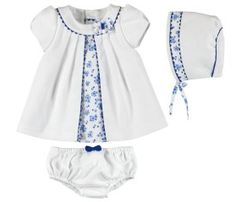 Blue Floral Piquet Dress with Bonnet & Bloomers