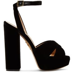 Charlotte Olympia Black Velvet Diana Platform Sandals (33.365 RUB) ❤ liked on Polyvore featuring shoes, sandals, heels, black, heeled sandals, black block heel shoes, black velvet shoes, block heel sandals and black shoes