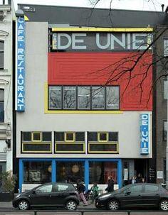 Café de Unie (1925) Rotterdam, Netherlands. Architect: J. J. P. Oud.