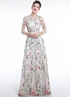 da0c951bde White Tulle Colorful Floral Embroidery Whimsical Maxi Evening Dress with  Sheer 3 4 Sleeves Floral