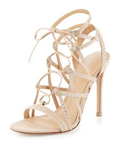 6ed36926b8f1 Gianvito Rossi Crystal-Embellished Suede Lace-Up Sandal
