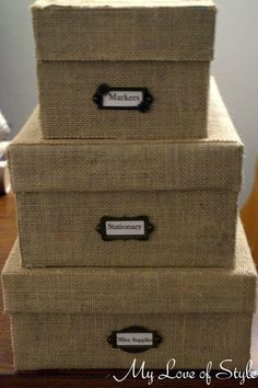 Turn Old Shoe Boxes into Custom Burlap Storage Boxes .  Free tutorial with pictures on how to embellish a fabric covered box in under 45 minutes using burlap, shoe box, and scissors. Inspired by craftroom and organization. How To posted by Jessica {My Love of Style}.  in the Home + DIY section Difficulty: Simple. Cost: Absolutley free. Steps: 14