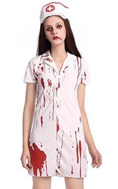 cb1ae18dad9e0 TOPJIN Women's Bloody Nurse Doctor Role Play Costumes Halloween Cosplay  Fancy Dress