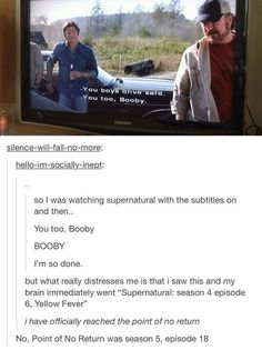 Lol bobby spn supernatural I was thinking that last comment before I read it wow I need help :P { Booby XD Destiel, Johnlock, Misha Collins, Supernatural Memes, Supernatural Season 4, Supernatural Subtitles, Fandoms, My Demons, Marvel