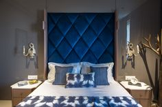 Regal blue sets a contrast in this bedroom by Shantanu Garg Design