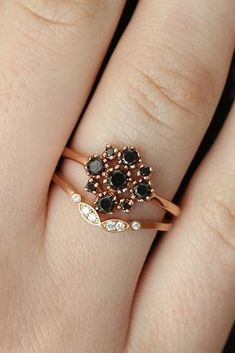 33 Unique Black Diamond Engagement Rings ❤️ black diamond engagement rings floral rose gold unique wedding set ❤️ More on the blog: https://ohsoperfectproposal.com/black-diamond-engagement-rings/