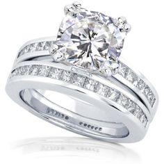 3ct TW Cushion-cut Moissanite and Princess Diamond Bridal Set in 14k White Gold $2,319.99