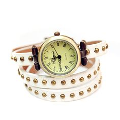 Sealike Vintage Rivet PU Leather Wrap Around Wrist Watch for Women Girls with a Stylus(White)