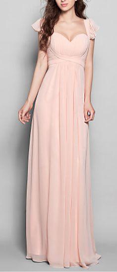 Blush chiffon bridesmaid dress