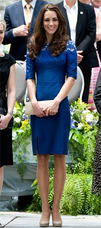 "She picked a cobalt blue ""Jacquenta"" dress by Erdem and L.K. Bennett shoes to attend an interfaith prayer service bright and early Sunday aboard the HMCS Montreal."
