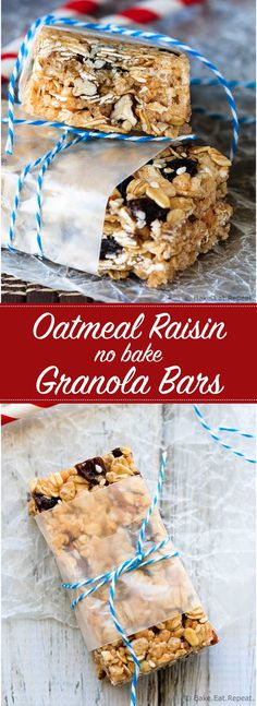 Oatmeal Raisin No Bake Granola Bars - Easy oatmeal raisin no bake granola bars - only 7 ingredients and they can be whipped up in under a half hour. The perfect snack for the kids lunches!