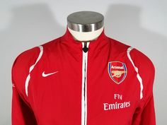 NIKE Men s Fly Emirates Arsenal Windbreaker Jacket Size Large Red Futbol  Soccer 21d23cdb8