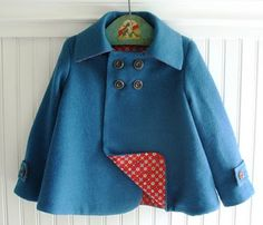peacock blue, red lined felt coat