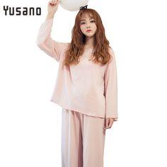 7f4c8b5bb6 Yusano Simple Pajamas Sets Long Sleeve Sleepwear Cotton Womens Polyester  Pyjama Femme Nightwear Pijama Tops Pants