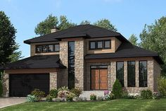 House Plan 50323 - Contemporary, Modern Style House Plan with 2072 Sq Ft, 3 Bed, 2 Bath, 2 Car Garage Modern House Plans, Modern Houses, Modern Garage, Modern Exterior, Unique House Design, Modern Design, House Goals, Future House, Beautiful Homes