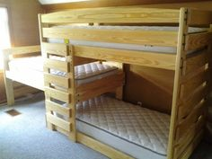 Custom solid wood triple bunk beds. Kid-tough & strong enough for three adults. Built to order in Columbus, Ohio. Choose your finish, style & options!