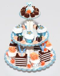 Teddy Bear Cup Cake Pastry Platter   Stewart Dollhouse Creations