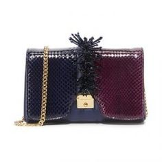 Marc Jacobs Burgundy/Midnight Blue Small Embellished Leather Shoulder Bag - 60% Off