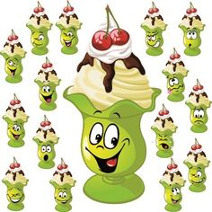 Funny Cartoon food expression vector 03