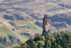 View over Wallace Monument, Near Stirling. Stirling is a patriotic region and this monument commemorates Sir William Wallace, one of the leaders of Scottish Independence and a 13th century Scottish Hero
