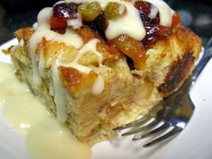 Challah Bread Pudding with Fruit Compote & Bourbon Sauce Food Now, A Food, Food And Drink, Challah Bread Pudding, Bread Puddings, Holiday Recipes, Great Recipes, Holiday Foods, Bourbon Sauce