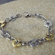 Bullet Shell Washer and Stainless Steel Bracelet by WireNWhimsy, $62.00