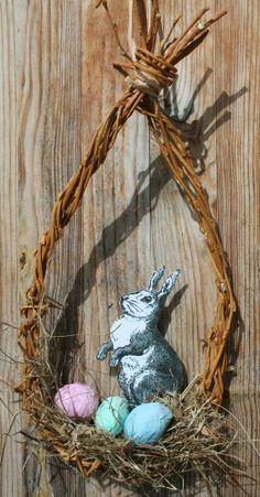 Osterdekoration für die Tür, Osterhase mit bunten Eiern in Weidenkranz, Neu,