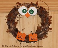 Very cute owls wreath.  This would be fun on the classroom door, or could somehow be used for a circle time activity.