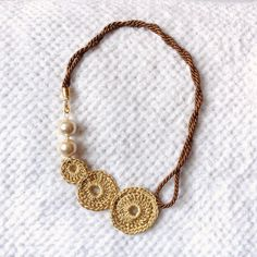 gold necklace / crochet jewelry / knit necklace / crochet necklace / knit jewelry / Christmas gift / gift for her