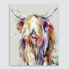 Canvas Giclee Watercolour Highland cow Art Print by collectable artist/designer Nicola Jane Rowles Highland Cow Art, Cow Painting, Farm Art, Diy Canvas Art, Country Art, Whimsical Art, Animal Paintings, Watercolor Art, Art Prints