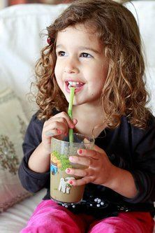 """Muddy make this """"chocolate milkshake"""" for kids packed full of greens (kale or spinach) masked by cocoa and peanut butter :)"""