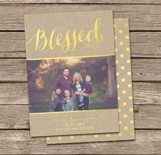 Photo Christmas Card Template: Gold Foil Faux Effect by deanworks