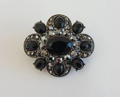 Jet Black Glass and Marcasite Brooch Signed LC by RetrofitStyle, $39.00