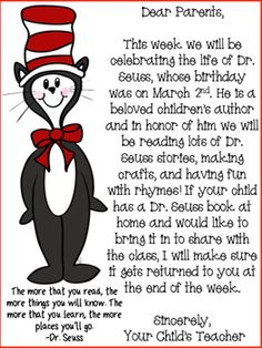 Use this printable to send home to parents. This parent letter will inform them of the fun activities that will be taking place for the week celebrating the birth of Dr. It also asks parents to send in Dr. Seuss books to share with the class. Dr. Seuss, Dr Seuss Week, Toddler Classroom, Preschool Classroom, Classroom Activities, Preschool Themes, Classroom Ideas, Dr Seuss Activities, Kindergarten Activities